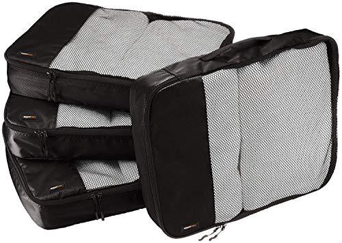 Amazon Basics Große Kleidertaschen, 4 Stück, Schwarz
