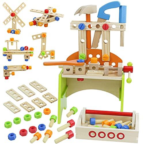 Werkbank Kinder Holz Spielzeug ab 3 4 5 6 Jahre Jungen Mädchen,40...
