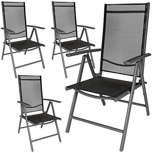 TecTake Aluminium Klappstuhl Gartenstuhl Set verstellbar mit Armlehnen...