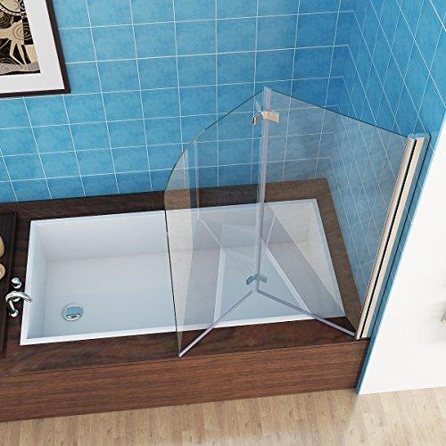 MIQU 100 x 140 cm Badewannen 2 TLG. Faltwand Aufsatz Duschwand...