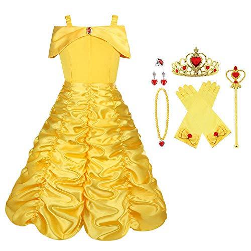 Viclcoon Prinzessin Kostüm Mädchen, Belle Kostüm Kinderkleider...