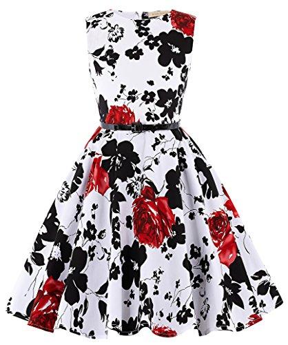 Kate Kasin Maedchen Retro Kleid Aermellos Kleid 13-14 Jahre KK250-2