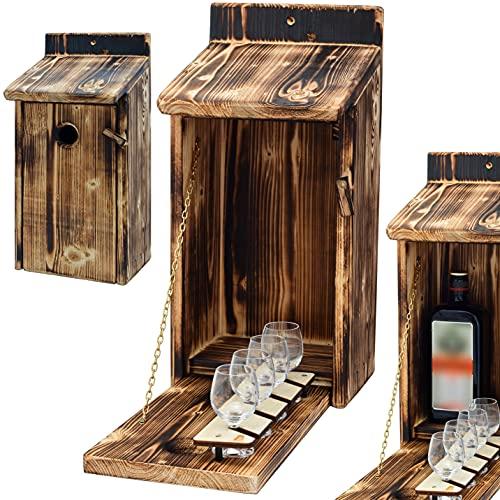 Alcohol Cage® - Holz Vogelhaus mit Platz für Flasche Schnaps 0.7...