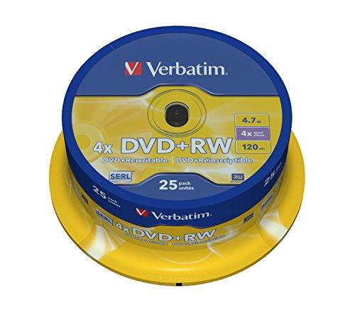 Verbatim DVD+RW 4x Matt Silver 4.7GB I 25er Pack Spindel I DVD...