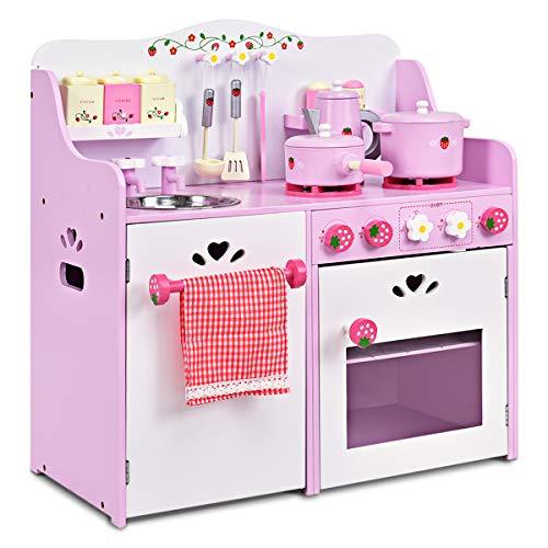 GOPLUS Kinderküche aus Holz, Spielküche mit Wasserhahn,...