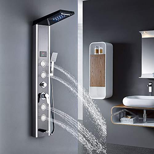 Rozin Edelstahl LED Duschpaneel mit 5 Funktionen Duschsäulen...