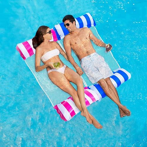 ECtury Luftmatratze Pool, Pool Wasserhängematte mit Netz, 4 in 1...