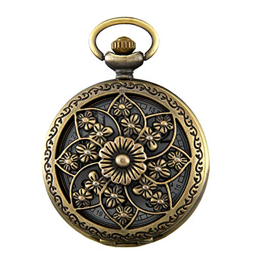 JewelryWe Retro Kamelie Blume Taschenuhr Damen Unisex Analog Quarz Uhr...