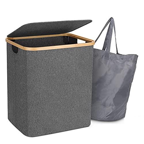 Wäschekorb mit Deckel, 60L Wäschesammler Aufbewahrungskorb mit...