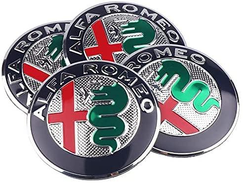 4 Aufkleber mit 56 mm Radnabenabdeckung für Alfa Romeo Mito 156159166...