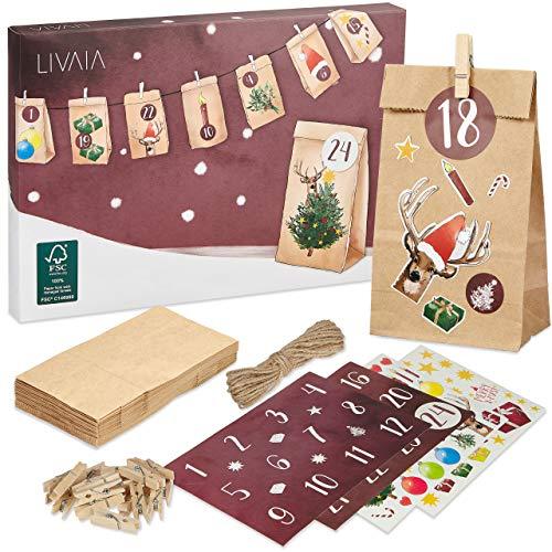 LIVAIA Adventskalender zum Befüllen: Schöner Adventskalender zum...