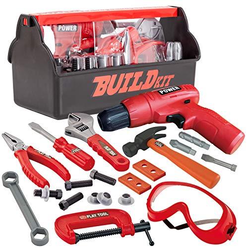 JOYIN 19-teiliges Bauwerkzeug-Set mit Werkzeugkasten für Kinder,...