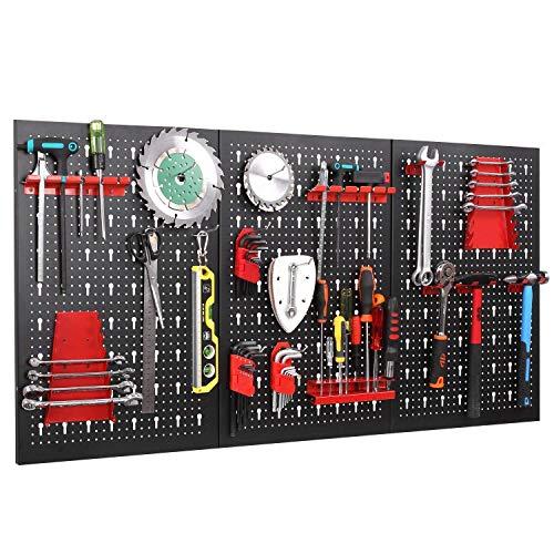 FIXKIT Werkzeuglochwand aus Metall mit 17 teilge Hakenset 120 x 60 x 2...