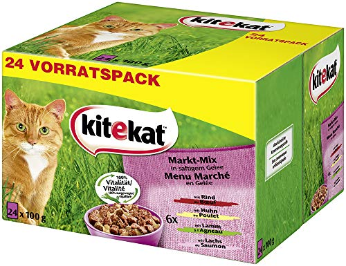 Kitekat Katzenfutter Nassfutter Markt Mix in Gelee, 48 Portionsbeutel...