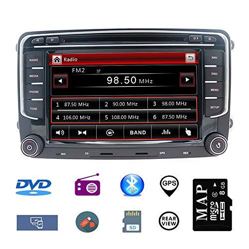 Stereo Home 7 Zoll 2 Din Autoradio Naviceiver für VW mit DVD CD GPS...