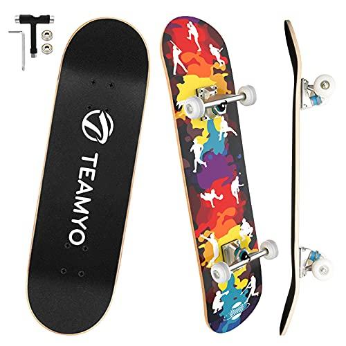 Skateboard Komplettboard, 80 x 20 cm Skate Boards für Anfänger mit...