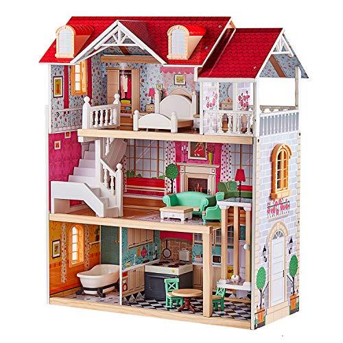 TOP BRIGHT Puppenhaus aus Holz, Puppenhaus mit Möbel und Zubehör,...