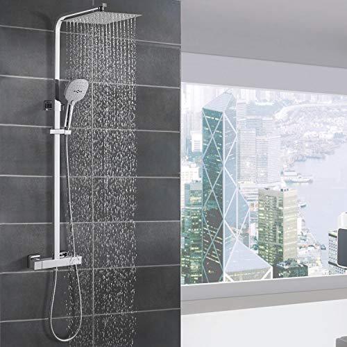 WOOHSE Duschsystem mit Thermostat Regendusche Duschset Edelstahl...