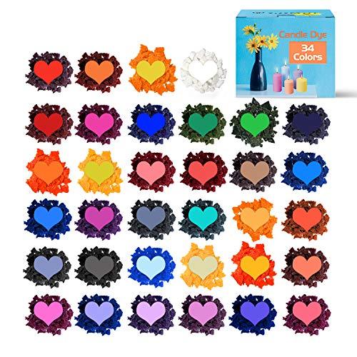 YRYM HT Kerzenwachs zum Färben von Kerzen - 34 Farben Kerzenfarbe...
