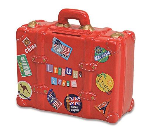 Spardose Urlaubskasse rot in Kofferform | Sparbüchse roter...