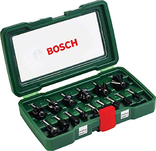 Bosch 15tlg. Hartmetall Fräser Set (für Holz, Ø-Schaft 8 mm,...