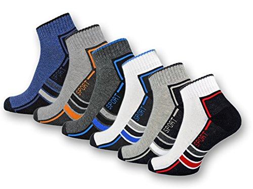 6 oder 12 Paar SPORT Sneaker Socken Herren mit verstärkter...