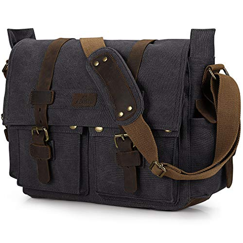 S-ZONE Vintage Canvas Leder Trim Abnehmbare Schulter Messenger Tasche...