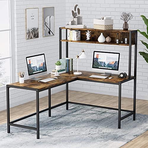 Tribesigns L-förmiger Schreibtisch mit Stall, Arbeitsplatz,...