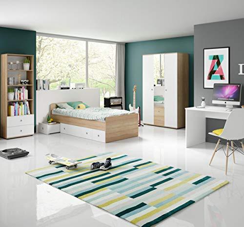 Jugendzimmer Wiggi Set 2 Eiche Sonoma Weiss 4tlg Kinderzimmer...