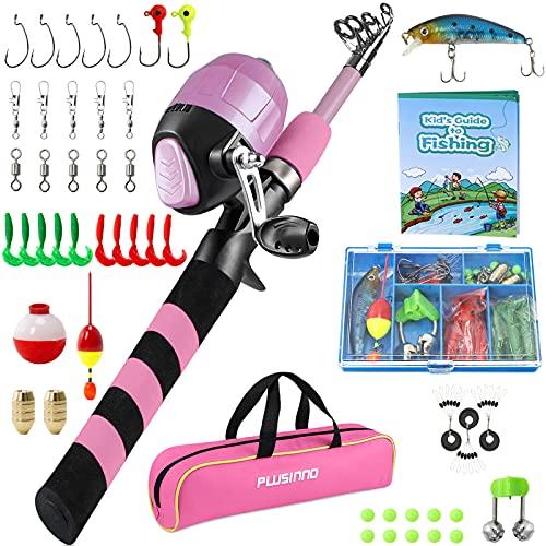 PLUSINNO Angelset für Kinder, Teleskopische Angelrute mit Angelrolle...