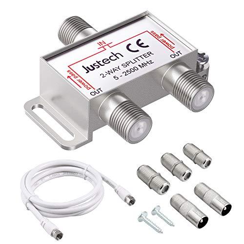 2-Fach TV Radio F-Stecker Adapter Kabel Antennen Verteiler SAT...