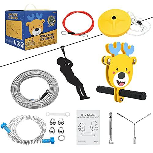 InLoveArts 36m Zipline Kit, Set für Kinder, Seilrutschen-Set mit...