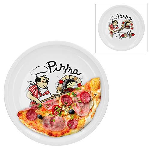 Van Well 2er Set Pizzateller groß Ø 29.5 cm mit Küchenchef-Motiv...