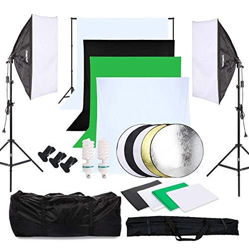 OUBO Fotostudio Set 4X Hintergrundstoff (schwarz, 2X weiß, grün),...