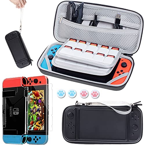 Tasche Kompatibel für Nintendo Switch Konsole und Zubehör,7 in 1...