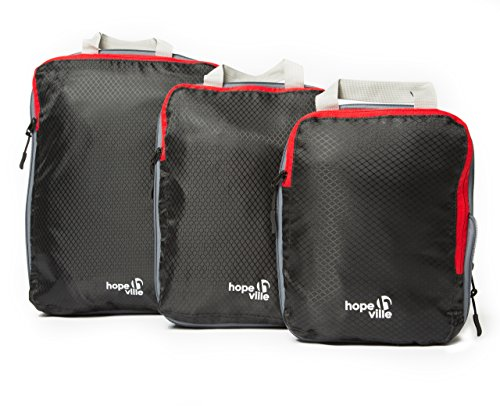 HOPEVILLE Packtaschen Set mit Kompression, 3-teilige Premium...