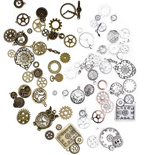 Steampunk Zahnräder Schmuck, 80 Stück Steampunk Accessoires, Antikes...