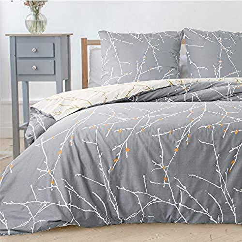 Bedsure Bettwäsche 135X200 Set mikrofaser - grau Bettbezug mit...