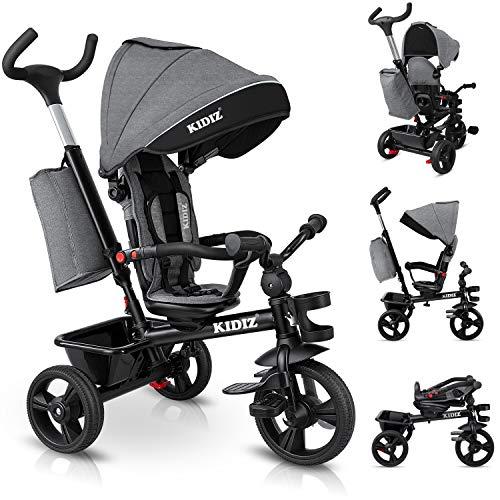 KIDIZ® Dreirad 5in1 Kinderdreirad mit Schubstange Lenksystem Stange...