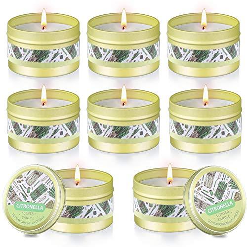 Citronella Kerze Outdoor, 8 Stück Dufted Kerzen Set mit Deckel,...