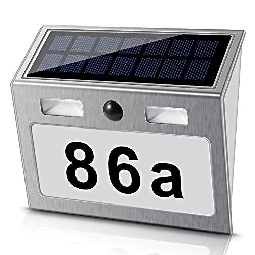 Solar beleuchtete Hausnummer mit 7 LEDs, ECHTPower Solar Hausnummer...
