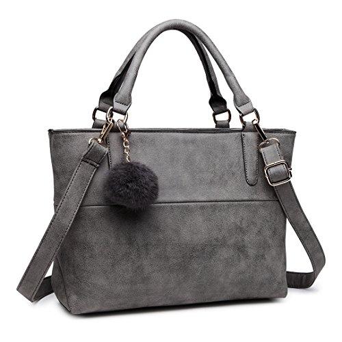 Miss Lulu Handtasche Damen Aktentasche Elegant PU-Leder Shopper...