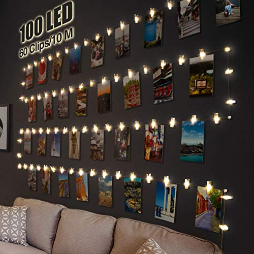 LED Fotoclips Lichterkette für Zimmer Deko, Litogo 10M 100LED...