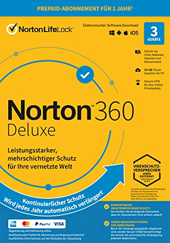 Norton 360 Deluxe 2021 | 3 Gerät| 1-Jahres-Abonnement mit...