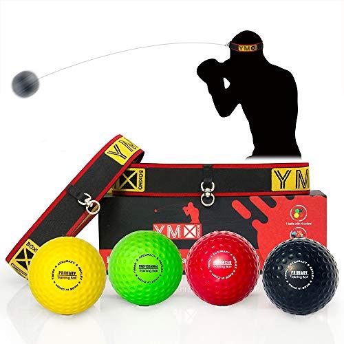 YMX BOXING Reflexball - 4 Bälle + 2 Stirnbänder, ideal für das...