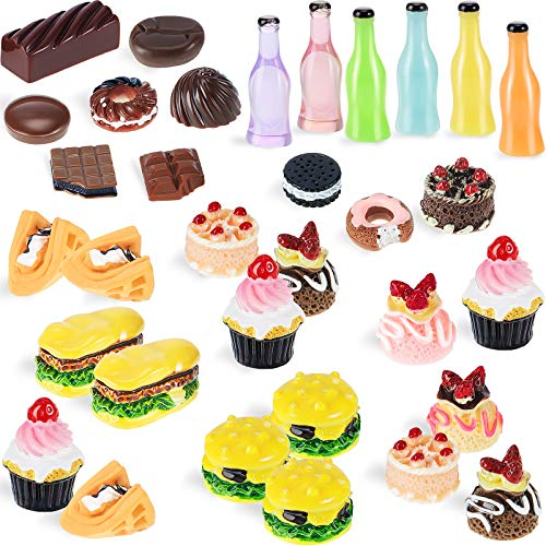 50 Stücke Miniatur Lebensmittel Mini Essen Getränk 1:12 Maßstab...