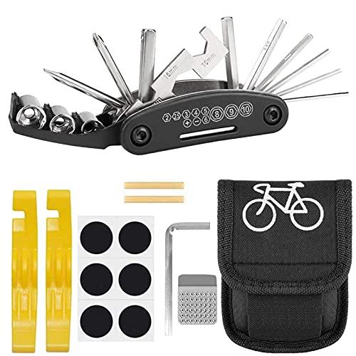 Atuful Fahrrad Werkzeug Set 16 in 1 Multitool Fahrrad mit Satteltasche...
