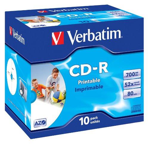 Verbatim CD-R AZO Wide Inkjet Printable 700 MB I 10er Pack Jewel Case...
