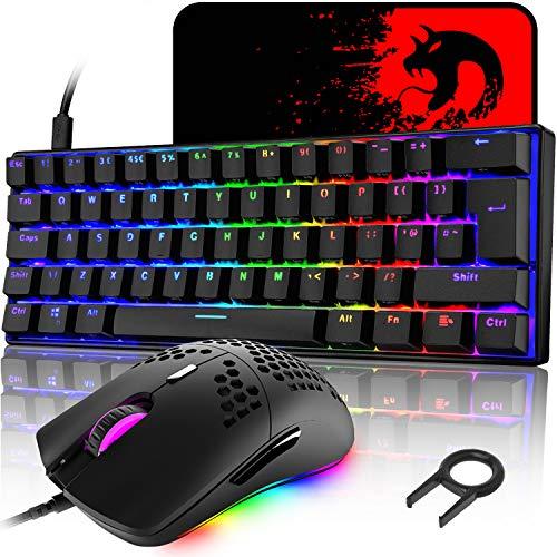 UK Layout 60% mechanische Gaming-Tastatur, blauer Schalter, Mini-62...