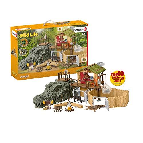 Schleich 42350 Wild Life Spielset - Dschungel Forschungsstation Croco,...
